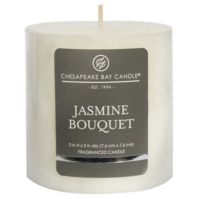 3  x 3  Satin Pillar Candle Jasmine Bouquet - Chesapeake Bay Candle