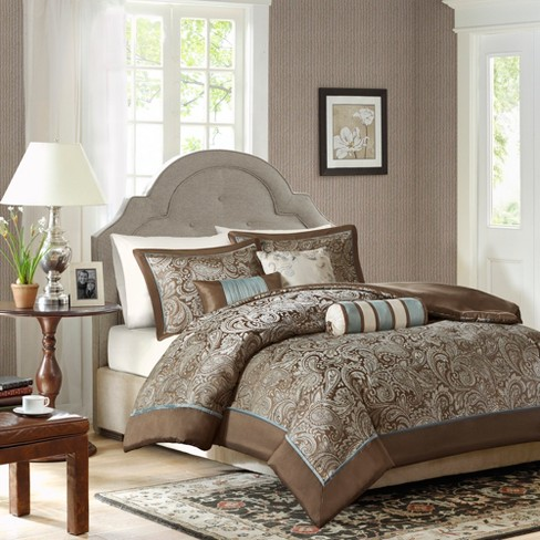 Charlotte 6 Piece Duvet Set   Blue/Brown (Queen) : Target
