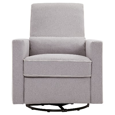 DaVinci Piper Recliner and Swivel Glider - Gray/Cream Piping