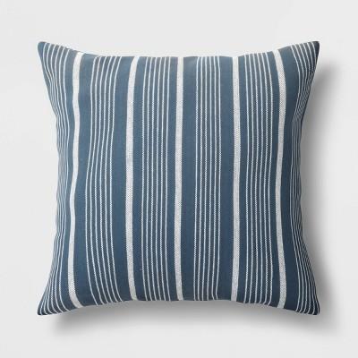 "18""x18"" Woven Striped Square Throw Pillow Blue - Threshold™"
