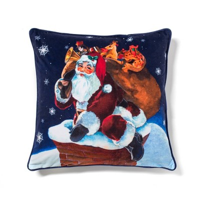 """20""""x20"""" Oversize Rooftop Santa Square Throw Pillow Dark Blue - Sure Fit"""
