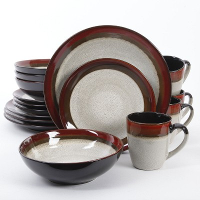 Gibson 90603.16RM 16 Piece Reactive Glaze Durable Dinnerware Plates, Bowls, and Mugs, Microwave and Dishwasher Ready, Red and Cream