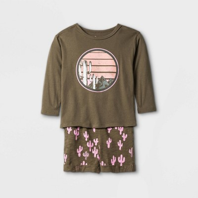 Toddler Boys' 2pc Cactus Long Sleeve T-Shirt & Shorts Set - art class™ Washed Brown/Pink