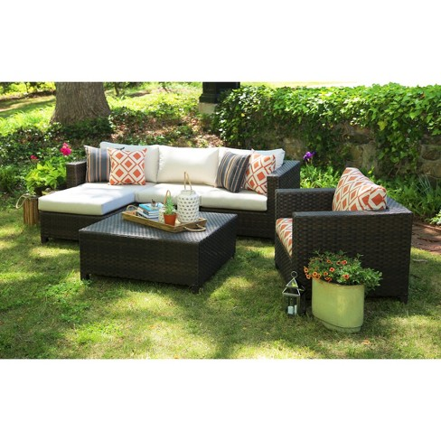 Biscayne 5 Piece Wicker Sectional Seating Patio Furniture Set Target