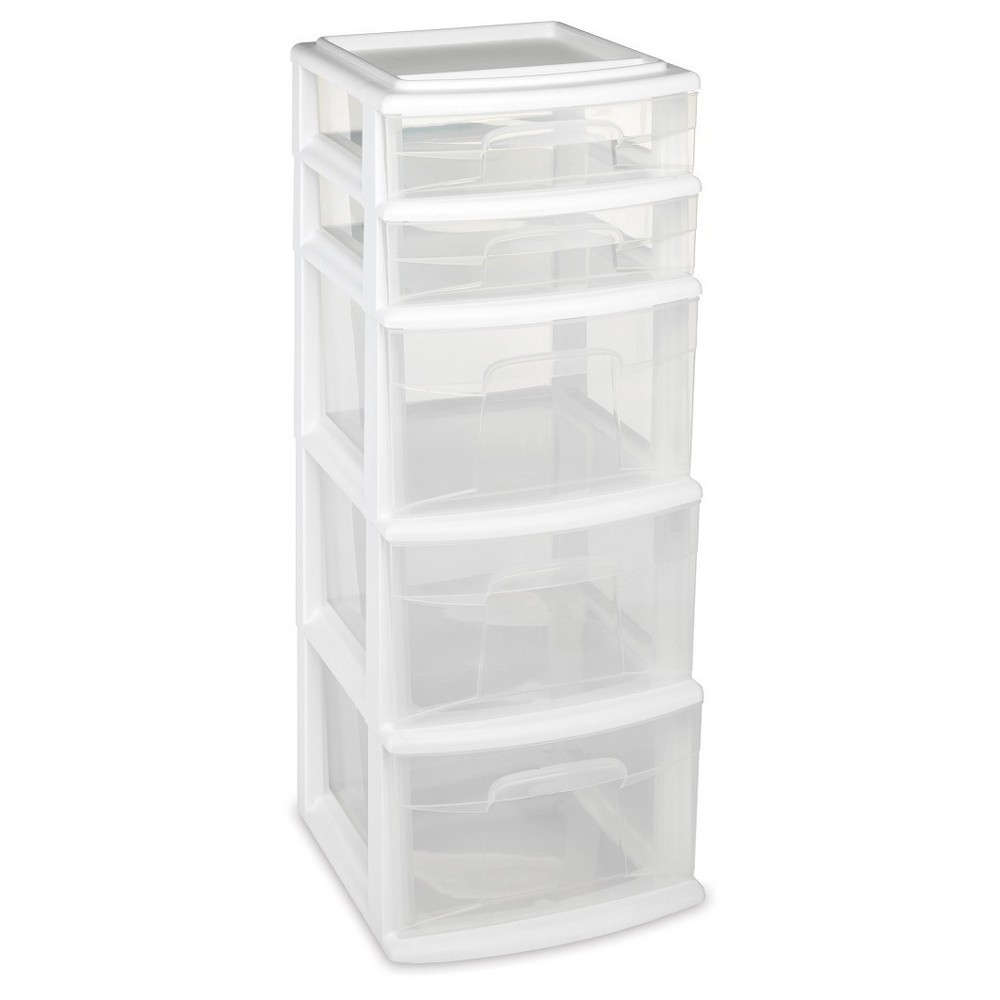 Image of Homz 5-Drawer Medium Storage Tower - White