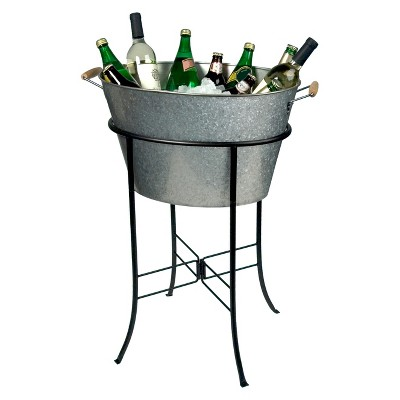 Masonware Oval Party Tub with Stand, Galvanized