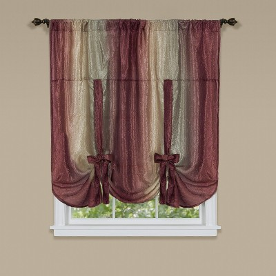 GoodGram Royal Ombre Crushed Semi Sheer Tie Up Curtain Window Shade