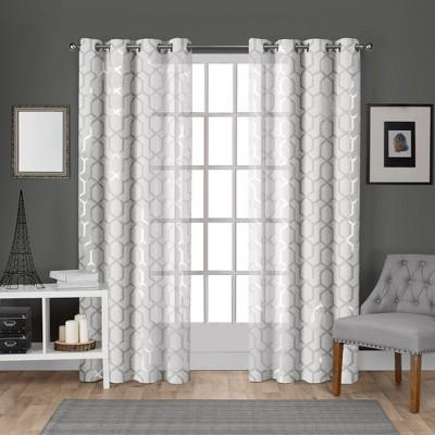 Exclusive Home Panza Sheer Linen Printed Metallic Geometric Grommet Top Window Curtain Panel Pair