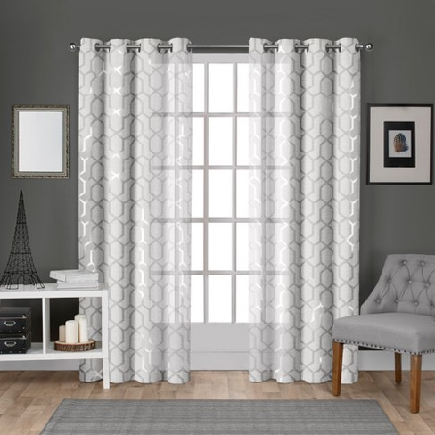 Exclusive Home Panza Sheer Linen Printed Metallic Geometric Grommet Top Window Curtain Panel Pair - image 1 of 5