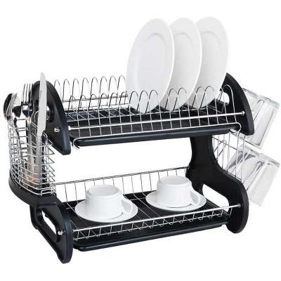 Home Basics 2 Tier Plastic Dish Drainer