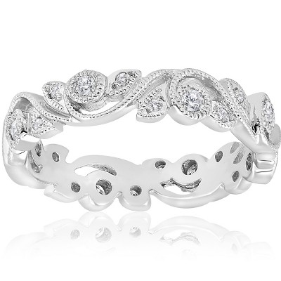 Pompeii3 1/4ct Vintage Stackable Filigree Diamond Eternity Wedding Ring 14k White Gold