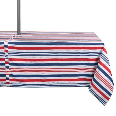 """84""""x60"""" Patriotic Stripe Outdoor Tablecloth Red/Blue - Design Imports"""