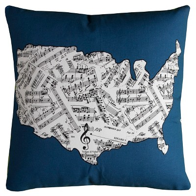 United States Map Sheet Music Throw Pillow - (20x20)- Rizzy Home