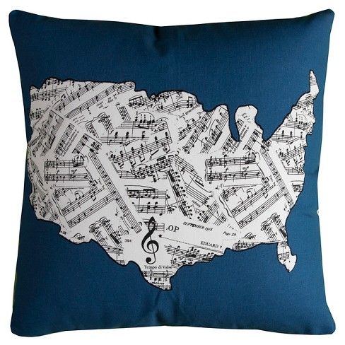 United States Map Sheet Music Throw Pillow - (20x20) - Rizzy Home - image 1 of 1