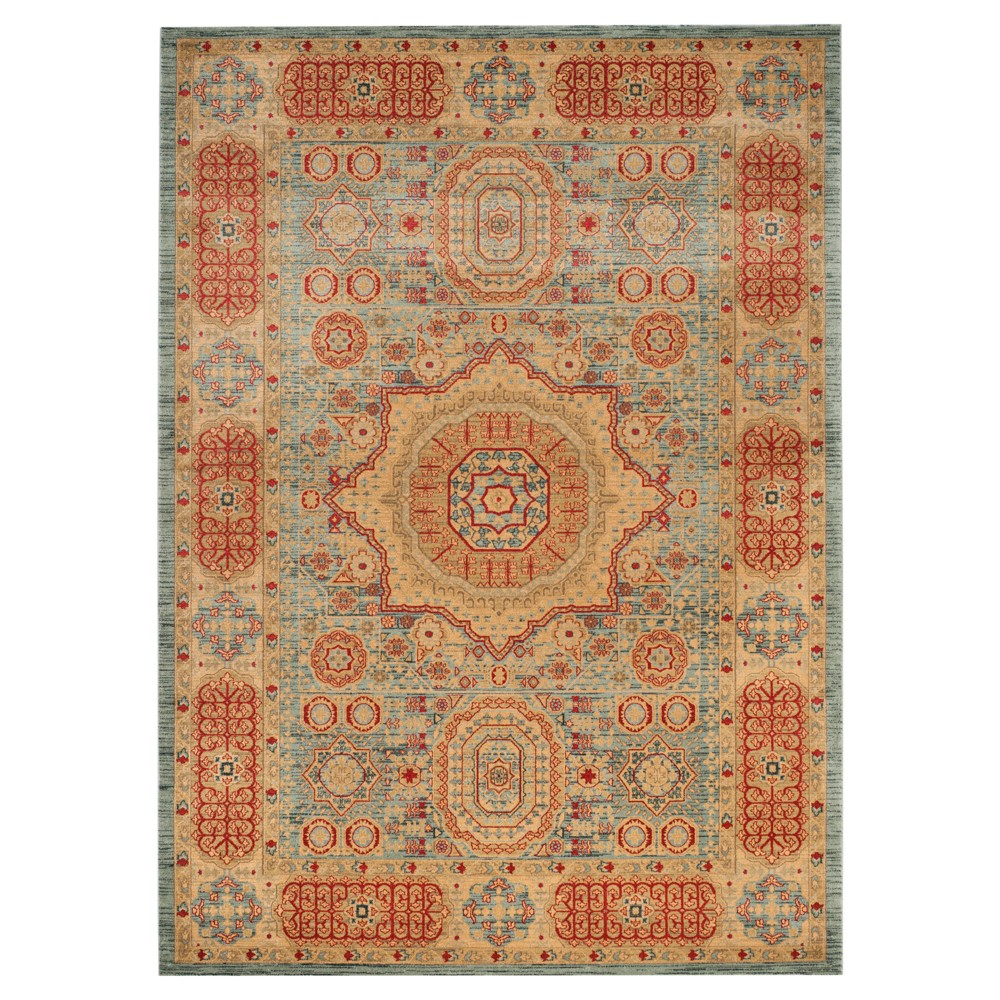 Mahal Rug - Navy/Red - (6'7