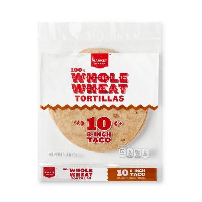 "8"" 100% Whole Wheat Tortillas - 10ct - Market Pantry™"