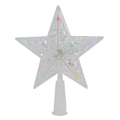 """Northlight 6"""" Pre-Lit Clear Crystal Jeweled Star Christmas Tree Topper - Multicolor Lights"""