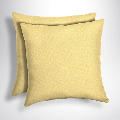 Yellow Outdoor Throw Pillows.2pk Shirt Texture Square Outdoor Throw Pillows Yellow Arden Selections