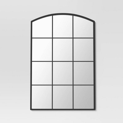 "20"" x 30"" Arched Window Pane Decorative Wall Mirror Black - Threshold™"