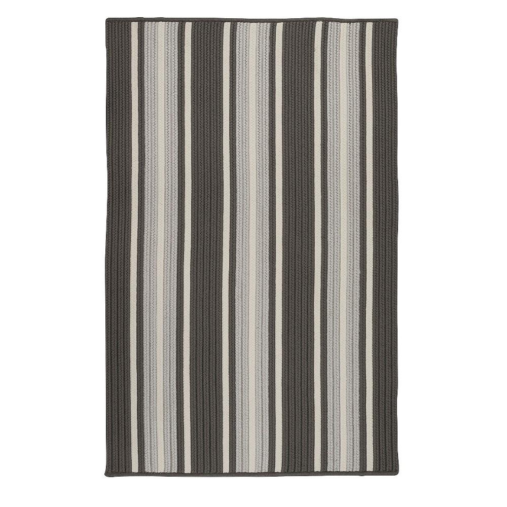 5'X7' Thin Stripe Braided Area Rug Gray - Colonial Mills