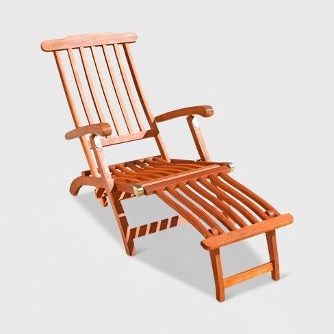 Marvelous Vifah Outdoor Wood Steamer Lounge Brown Theyellowbook Wood Chair Design Ideas Theyellowbookinfo