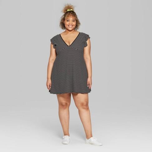 Women\'s Plus Size Striped Flutter Short Sleeve V-Neck Solid Skater Dress -  Wild Fable™ Black/White