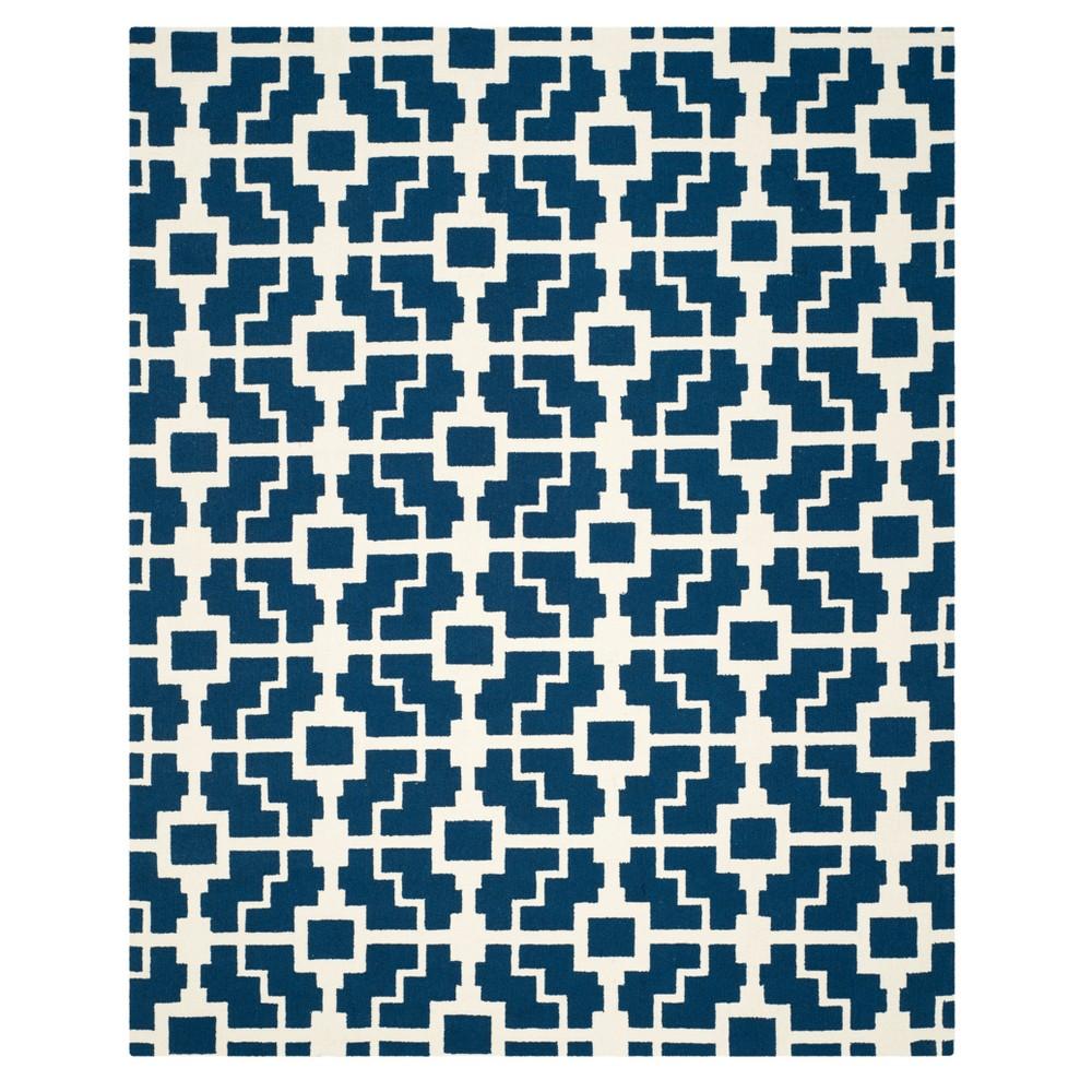 Navy/Ivory (Blue/Ivory) Geometric Hooked Area Rug 8'X10' - Safavieh