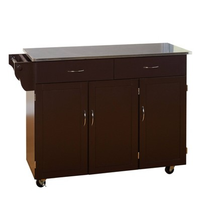 Extra Large Kitchen Cart Espresso Brown - Buylateral