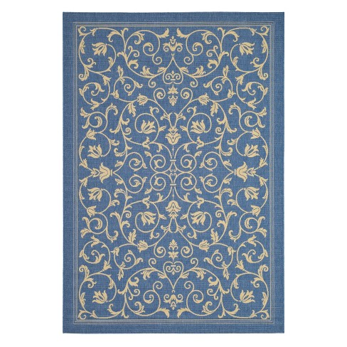 "Vaucluse Rectangle 6'7"" X 9'6"" Outdoor Rug - Blue / Natural - Safavieh® - image 1 of 1"