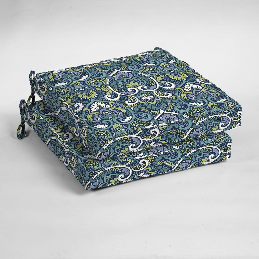 Image of 2pk Aurora Damask Single Welt Outdoor Seat Cushions Sapphire (Blue) - Arden Selections