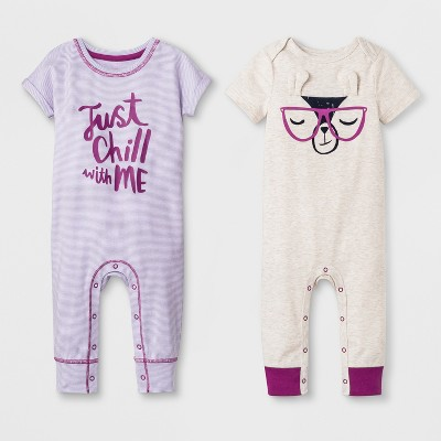 Baby Girls' 2pk Short Sleeve Romper - Cat & Jack™ Purple 3-6M