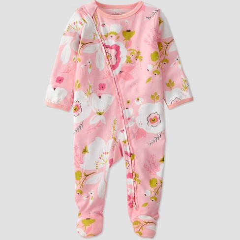 Baby Girls' Organic Cotton Floral Sleep N' Play - little planet by carter's Pink - image 1 of 3