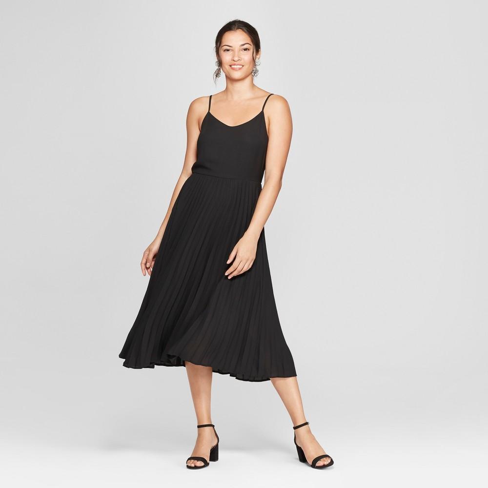 Women's Sleeveless Pleated Slip Dress - A New Day Black S