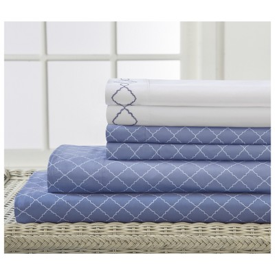 Revina 6pc Embroidered Microfiber Sheet Set (Queen)Denim - Elite Home Products