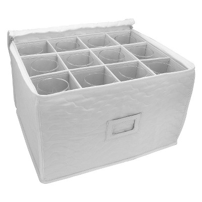 Sorbus Stemware Storage Chest - Deluxe Quilted Microfiber Beige
