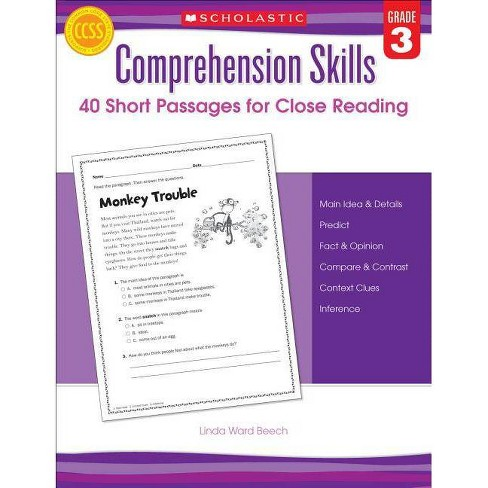 Comprehension Skills: Short Passages for Close Reading: Grade 3 - by  Linda Beech (Paperback) - image 1 of 1