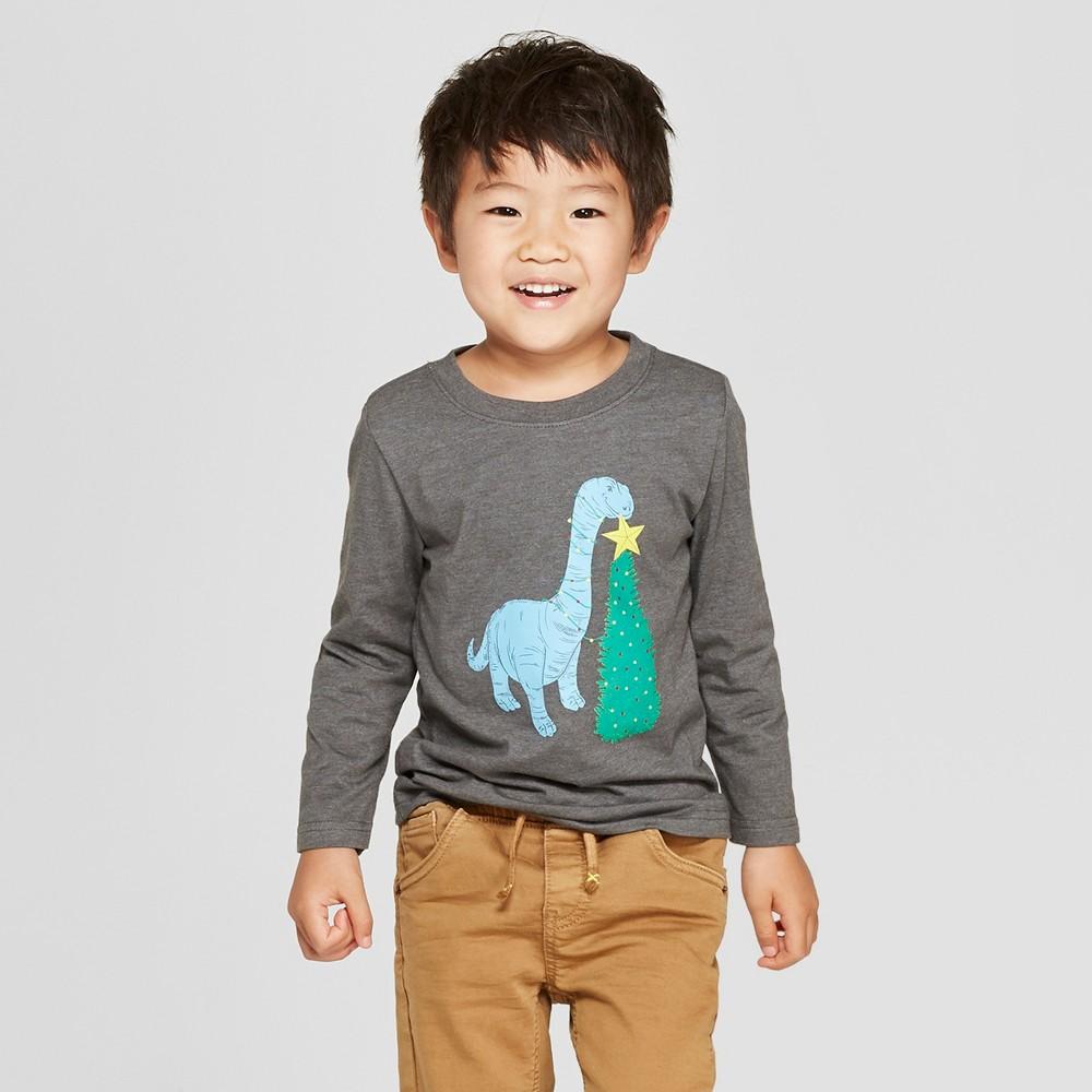 Toddler Boys' Dinosaur Graphic Long Sleeve T-Shirt - Cat & Jack Charcoal 4T, Gray