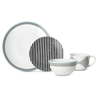 Cheeky™ Memphis Porcelain 16pc Dinnerware Set Black/Teal