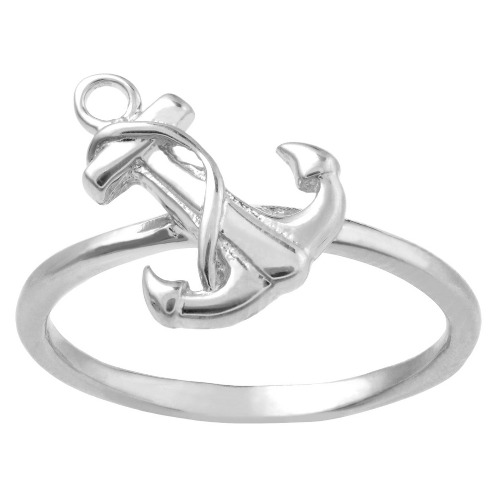 Women's Journee Collection Anchor Ring in Sterling Silver - Silver (5)