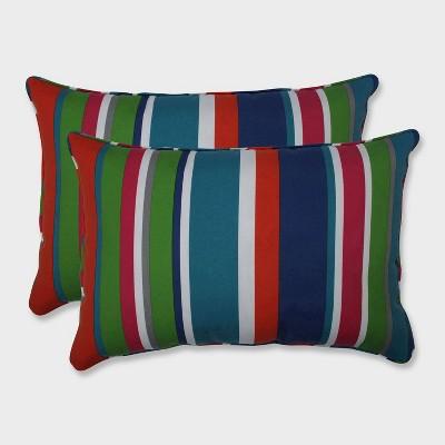2pk Oversize St. Lucia Stripe Rectangular Throw Pillows Blue - Pillow Perfect