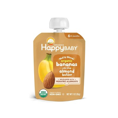 HappyBaby Nutty Blends Organic Bananas & Almond Butter Baby Food Pouch - 3oz