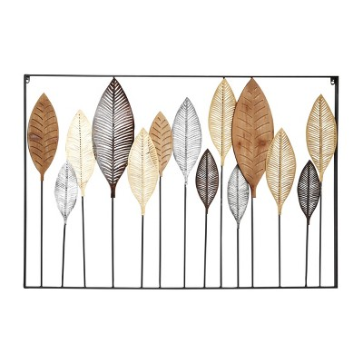"47"" x 31.5"" Large Metal and Wood Leave Sculpture Wall Decor Gray/Gold/Silver - Olivia & May"