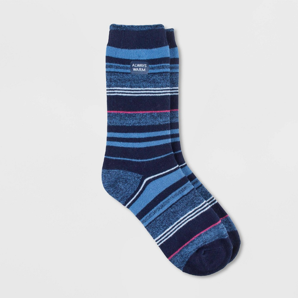 Image of Always Warm by Heat Holders Women's Striped Crew Socks - Navy 5-9, Size: Small, Blue