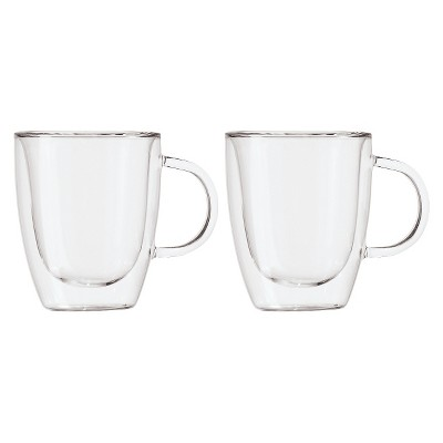 Oggi 12oz 2pk Double Wall Glass Mugs