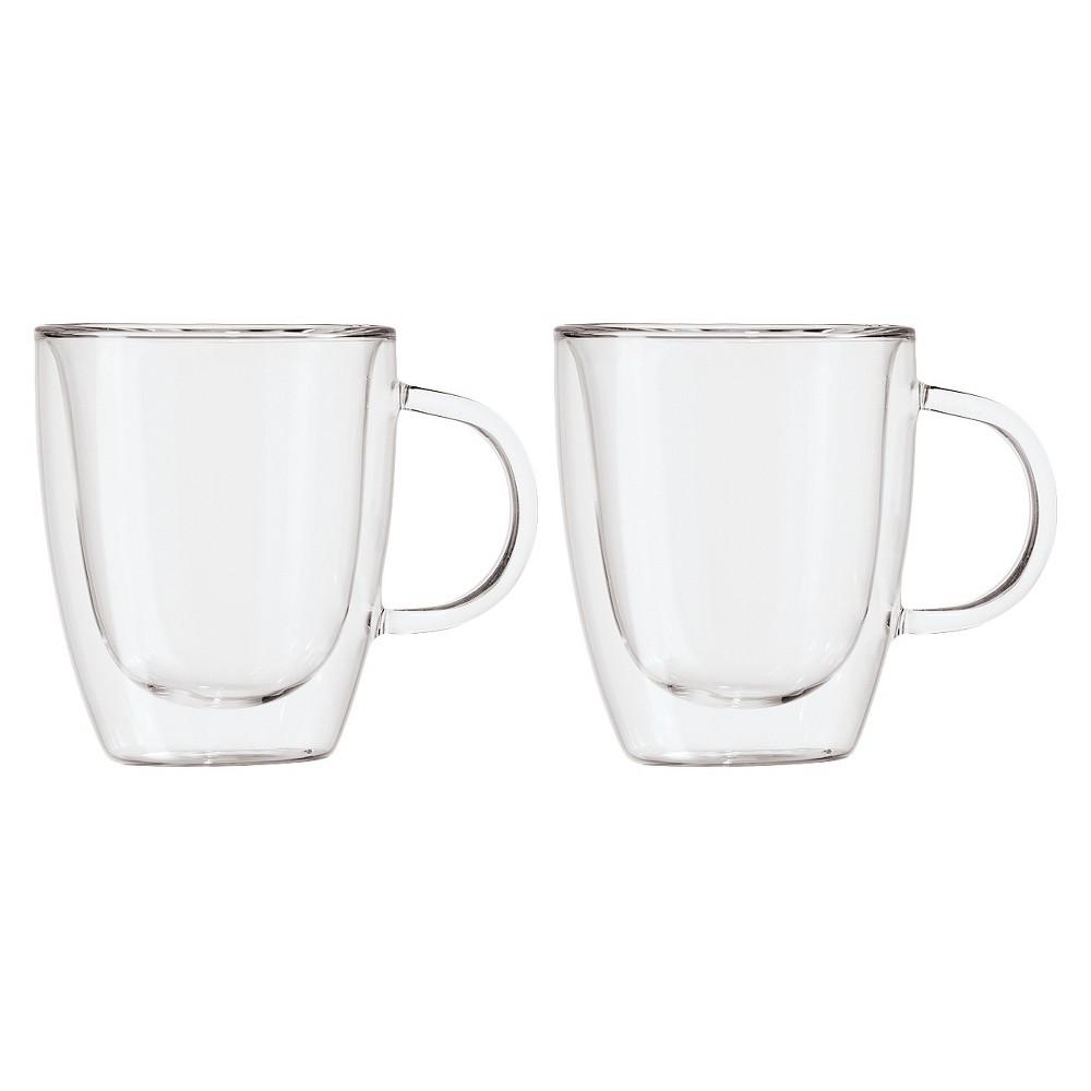 Image of Oggi 12oz 2pk Double Wall Glass Mugs, Clear