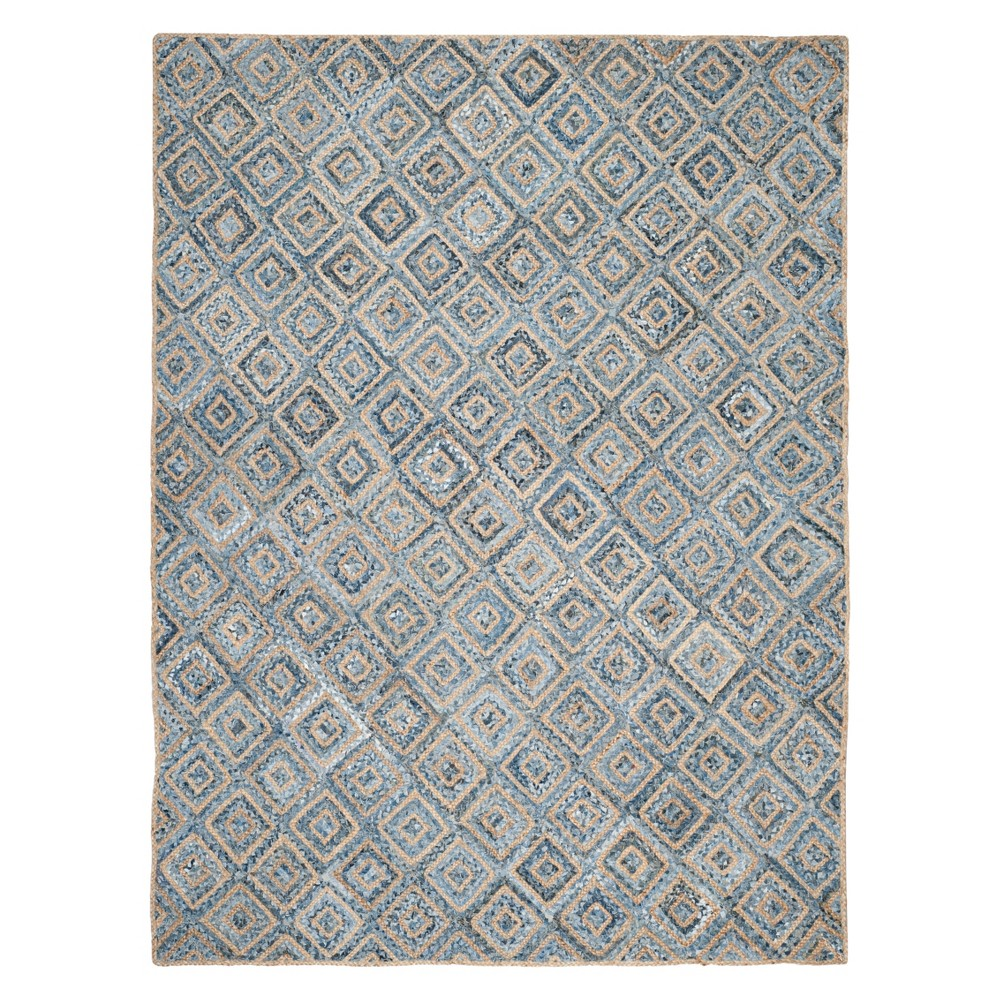 10'X14' Geometric Area Rug Natural - Safavieh, Natural/Blue