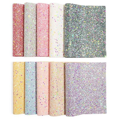 Bright Creations 10 Piece Glow in The Dark Chunky Glitter Faux Leather Sheets, 7.8 x 13.4 in