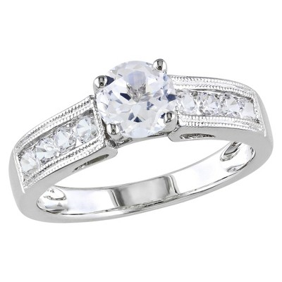 1 1/2 CT. T.W. White Sapphire Cocktail Ring - 8 - White