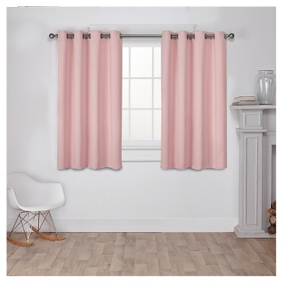 Set of 2 Sateen Twill Weave Insulated Blackout Grommet Top Window Curtain Panels Pale Blush (52 x63 )- Exclusive Home®
