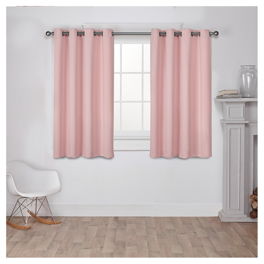 Set of 2 Sateen Twill Weave Insulated Blackout Grommet Top Window Curtain Panels Pale Blush (52